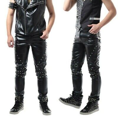 Mens Faux Leather Cone Studded Pants PU Trousers Bottoms Stage Costume Punk
