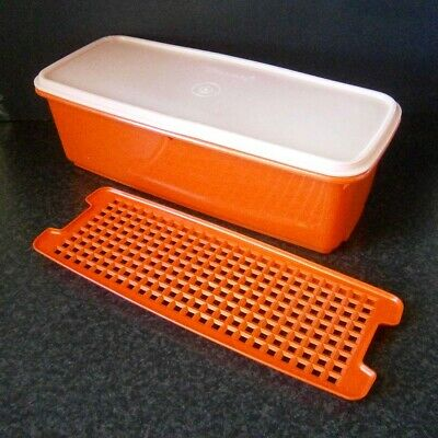 VINTAGE TUPPERWARE RED PLASTIC CELERY KEEPER with DRAINAGE TRAY Orlando Florida