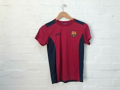 FC Barcelona Official Kid's Club Logo Poly T-Shirt - 10-11 Years - Claret - New