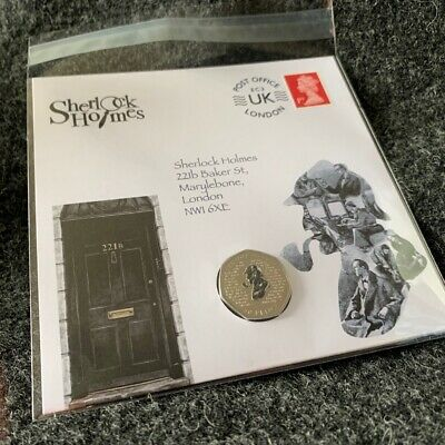 Sherlock Holmes 50p Decal Uncirculated Coin and Stamp Cover