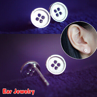 Women Shiny 925 Sterling Silver PLT Small Cute Button Stud Earrings Jewellery