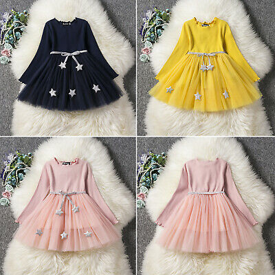 Kids Girls Star Knitted Long Sleeve Dress Party Wedding Casual Tutu Mini Dresses