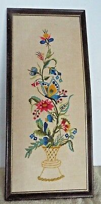 """Vintage Crewel Embroidery Finished Floral Butterfly Flowers Framed 24'X10 3/4"""""""