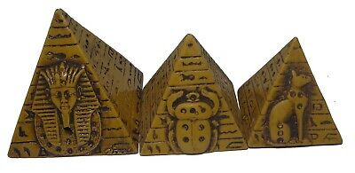 Set Egyptian Pyramids Hieroglyphics Pharaoh Figurine Statue Ancient 3D Sculpture