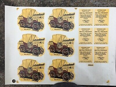 Vintage Original Wade Decals Transfer Wolseley Veteran Car 12x Sheet Side & Base