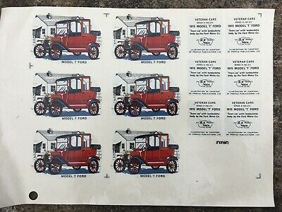 Vintage Original Wade Decals Transfer Model T Ford Veteran Car Sheet Side & Base