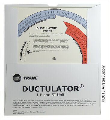 Trane Ductulator Duct Sizing Calculator Slide Chart Graph With Protective Sleeve