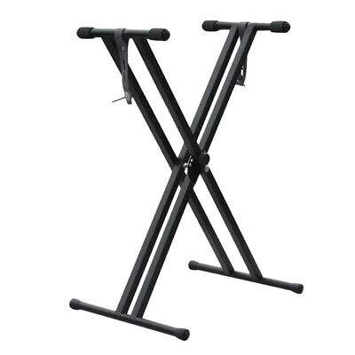 Adjustable Piano Keyboard Double X Stand Organ Rack Black