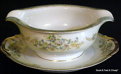 Nice MEITO china PICTURED pattern ~ Gravy Boat with Attached Under Plate