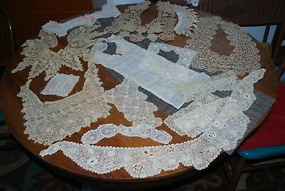 92 Antique & Vintage Collar, Cuff, & Dress Trim Pieces-Crocheted and Tatted Lace