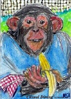 SUMMER CLEARANCE 'Casual Dining' ACEO signed original painting chimpanzee