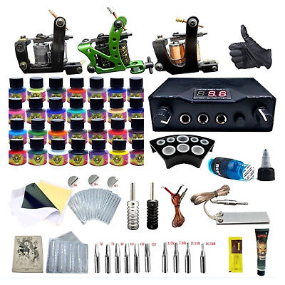 Pro Complete Tattoo Kit Professional Machine Tattoo Needle Foot Pedal Set 8Style