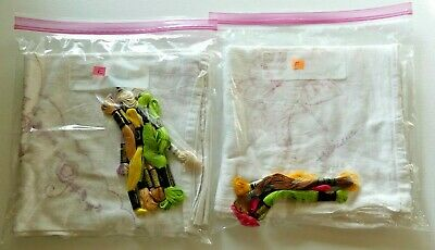 """27"""" x 28"""" Flour Sack Towels KITS You Choose Stamped Design w/Embroidery Floss"""