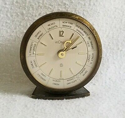 Vintage Le Coultre  8 Day Brass World Time Alarm Clock