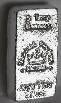 5 Troy Ozs Loaf Bar Monarch Precious Metals .999 Fine Silver Mpm With Crown