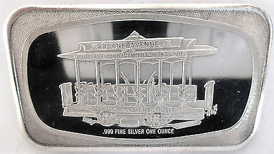 Cleveland Art Bar 1972 Wade Park Ohio Cable Car .999 Fine Silver Proof 1 Troy Oz