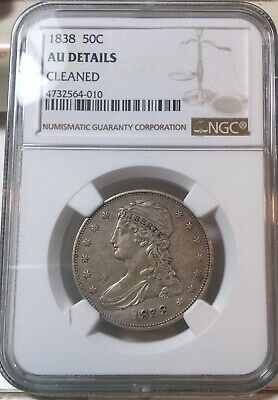 1838 Capped Bust Half Dollar 50C - NGC AU Details - Rare Certified Coin!