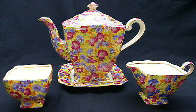 "Royal Winton Grimwades ""Royalty"" Chintz Teapot w Sugar/Creamer Underplate Ascot"