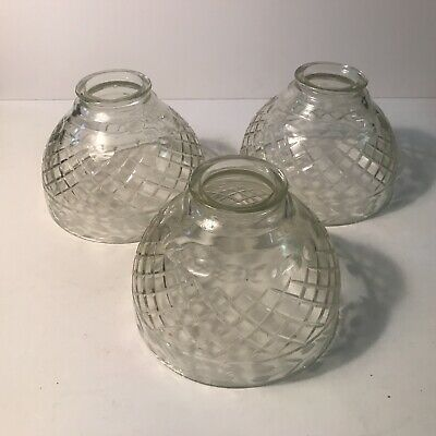 Antique replacement set 3 clear cut etched glass shades for lamp or fixture.