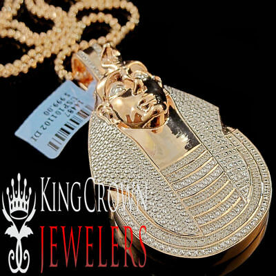 10K Rose Gold Tone Charm Real Diamond Egyptian Pharaoh King Tut Pendant Necklace