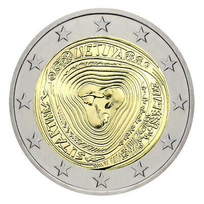 """Space Lithuania 5 euro 2018 /""""Lithuanian science satellites/"""" AU Gold PROOF"""