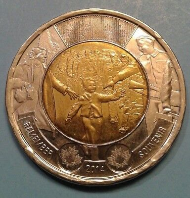 """Canada 2 Dollar Commemorative coin 2014 (WWII 75th Anniversary- """"Wait for me"""")"""