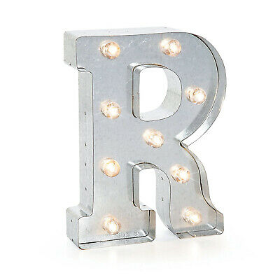 (R, Silver) - Darice Silver Metal Marquee Letter 25cm -R. Shipping Included