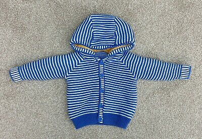 Blue & White Stripe Knitted Hooded Cardigan Mothercare Size 3-6 Months Ex Cond