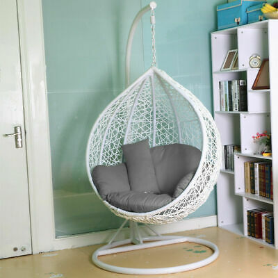 Swing Patio Egg Chair Rattan Garden Hanging Cushion Cover Indoor Outdoor White
