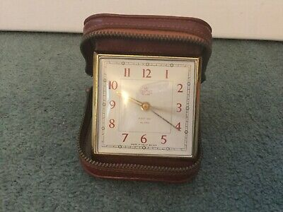 Vintage 1950's Smiths Deluxe Travel Clock in Tan Leather Case Alarm 60s