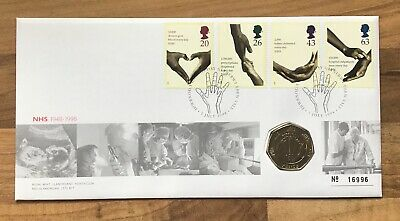 50th ANNIVERSARY NHS 1948-1998 50p Coin FIRST DAY PROOF COIN & STAMP COVER 17968