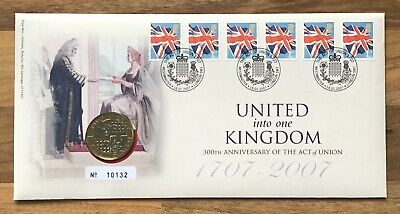 ACT OF UNION 2007 £2 Coin FIRST DAY PROOF COIN & STAMP COVER SET No 10132