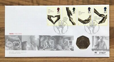 50th ANNIVERSARY NHS 1948-1998 50p Coin FIRST DAY PROOF COIN & STAMP COVER 21827