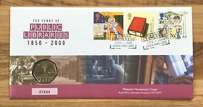 ANNIVERSARY OF PUBLIC LIBRARIES 50p Coin FIRST DAY PROOF COIN & STAMP COVER 7999