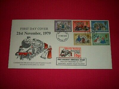 1979 Christmas FDC Keighley Worth Valley Railway Santa Train Letter Stamp Shs