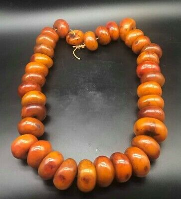 Very Old Vintage African Antique Moroccan Berber Amber Beads Unique Neckless