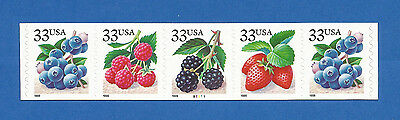 US Fruit Berries 3302-05 PNC# B2222 Coil Strip of 5 Stamps Mint N.H. 3302-3305