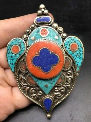 Vintage Old Tabtian Mixed Sliver Very Uniqe Pendent With Lapis & Tourquise Stone