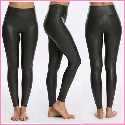 NWD SPANX Faux Leather Leggings in Black [SZ Medium ] #K218. ---SEE DEFECT---
