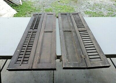 "Antique Pair of Unique Wood Shutters, 13 x 39"", Primitive, AAFA, Salvage, (L)"