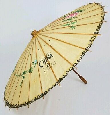 Parasol Splendid China Umbrella Hand Painted Floral Bamboo Rice Paper 23 3/4""