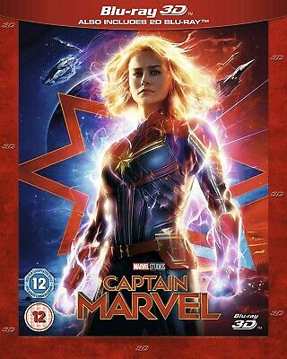 New MARVEL STUDIOS CAPTAIN MARVEL Blu-ray 3D ALSO INCLUDES 2D BLU-RAY 15/07/2019