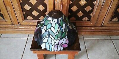 Antique Leaded Stained Glass Lamp Shade Tiffany Style Rose Floral Fixture