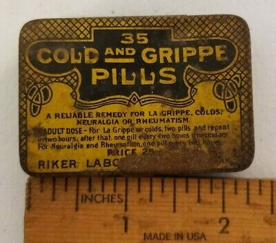 Vintage Quack Medicine Tin 35 Cold & Grippe Pills No Opiates Riker Laboratories