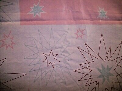 Vintage California Hand Prints Pink Starburst Retro Mod Rayon Tablecloth 56x100
