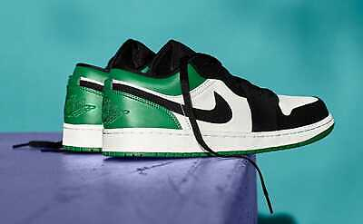 Nike Air Jordan 1 Low Size 10 Mystic Green White Black Men's Sneaker 553558 113
