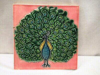 Peacock Tile Porcelain Saji Japan Porcelain Ceramic Pink Color Decorative *501