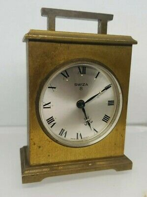 Vintage Swiza Swiss Made 8 Day Carriage Mantle Alarm Gold Tone Clock Works