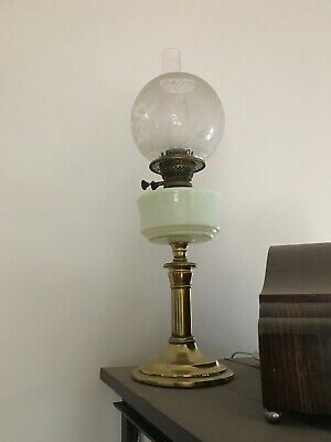 Antique Uranium Font Oil Lamp