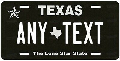 TEXAS Black style License Plate Novelty Personalized Any Text for Auto ATV Bike